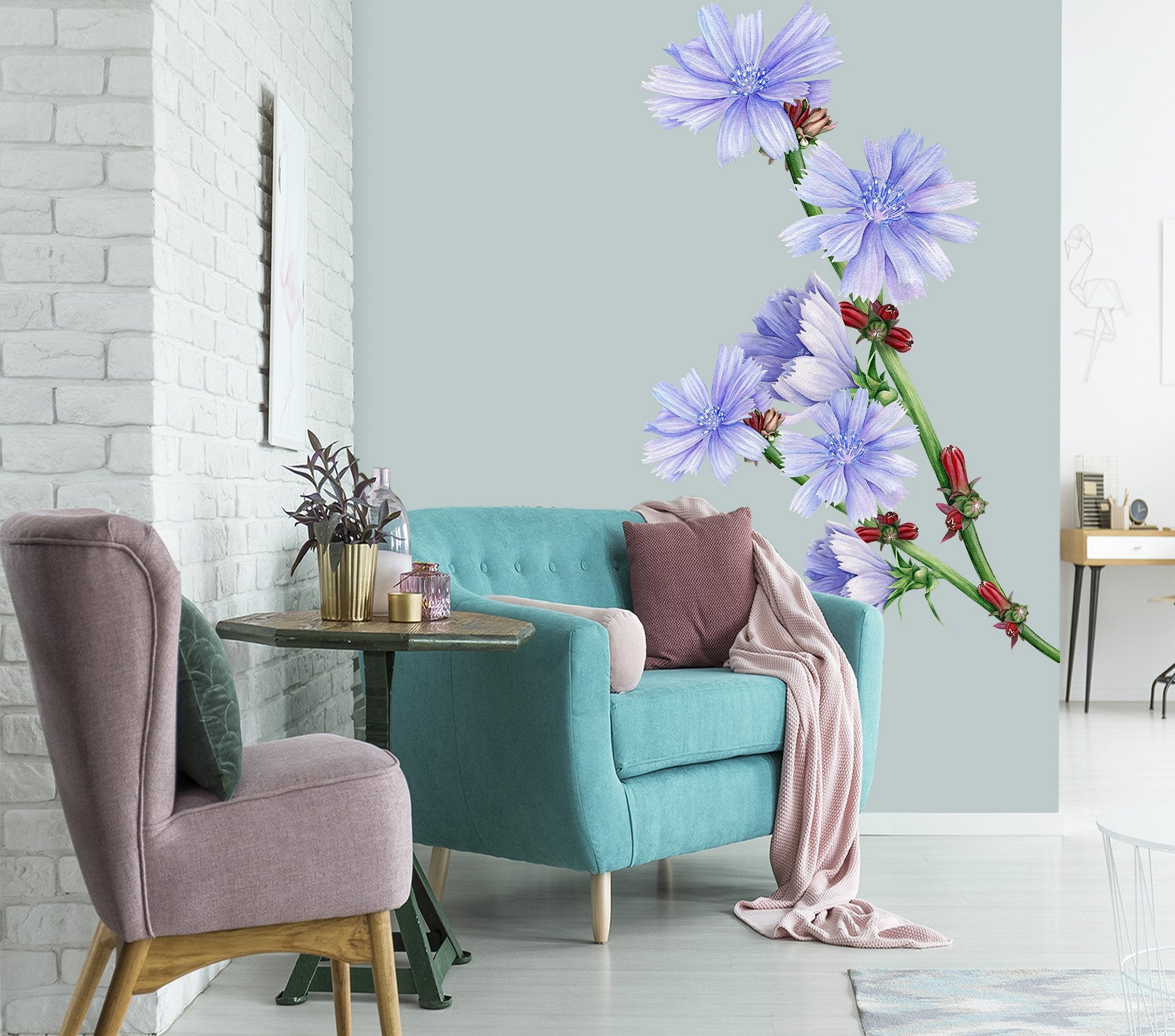 3D Blue Flower 045 Wall Stickers Wallpaper AJ Wallpaper