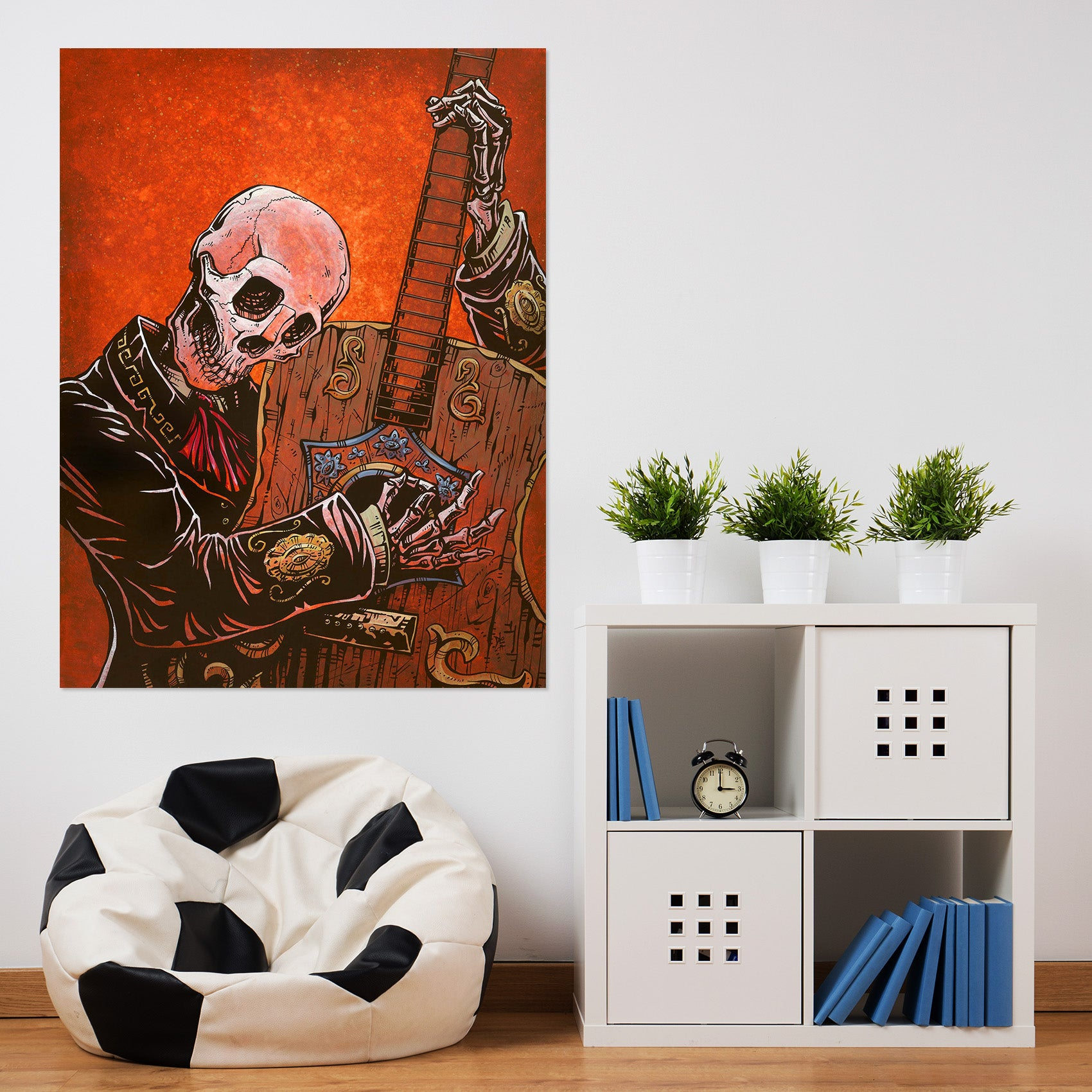 3D Skull Guitar 210 David Lozeau Wall Sticker