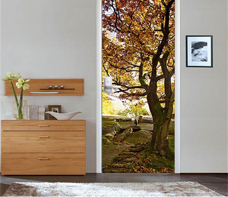3D autumn leaves door mural Wallpaper AJ Wallpaper