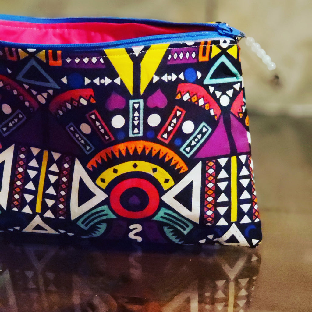 Ankara Pink and Blue Zipper Pouch