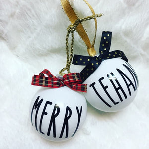 Holiday Rae Dunn inspired ornament - Personalize it!