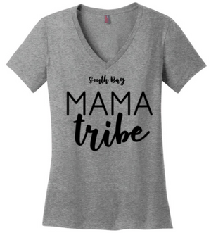 South Bay Mama Tribe V-Neck Tee Shirt with Black Lettering