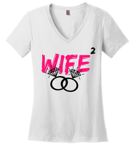 WIFE X 2 Ladies V-Neck Tee