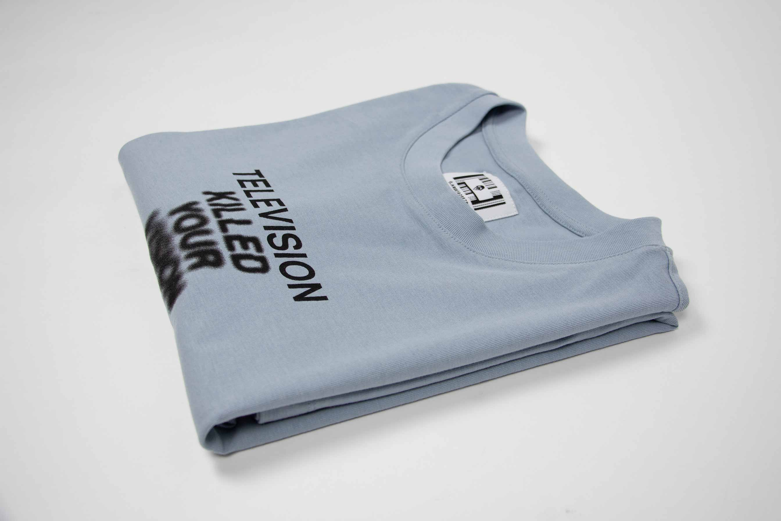 TV KILLED YOUR VISION TEE // DUSTY BLUE