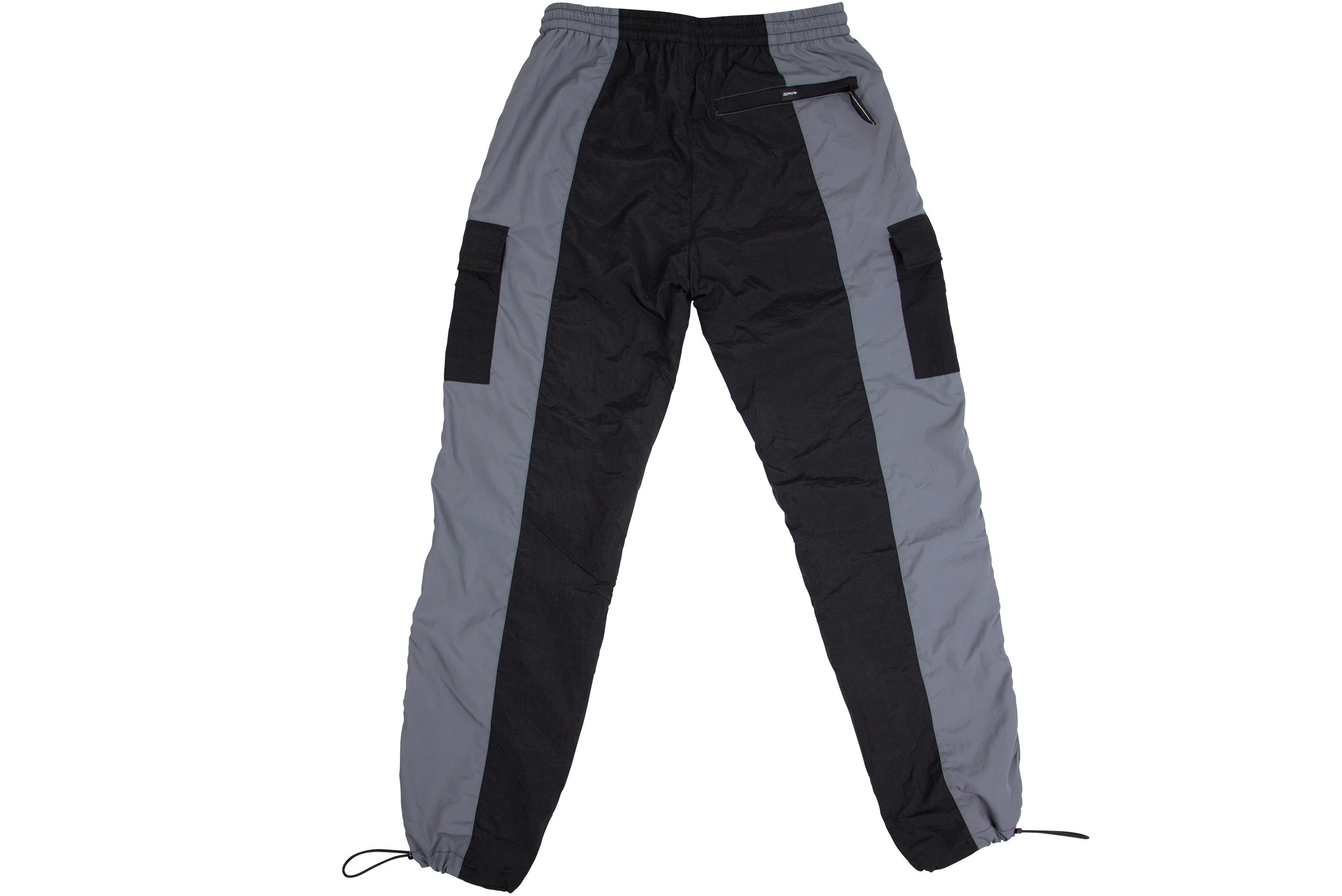SPLIT CARGO TRACK PANTS // BLACK & GREY