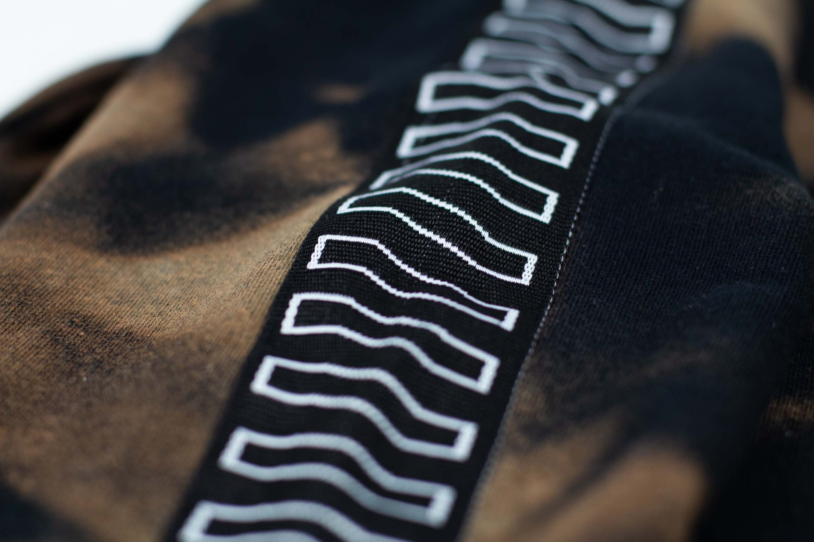 BLEACH TAPED HOODIE // BLACK & BROWN