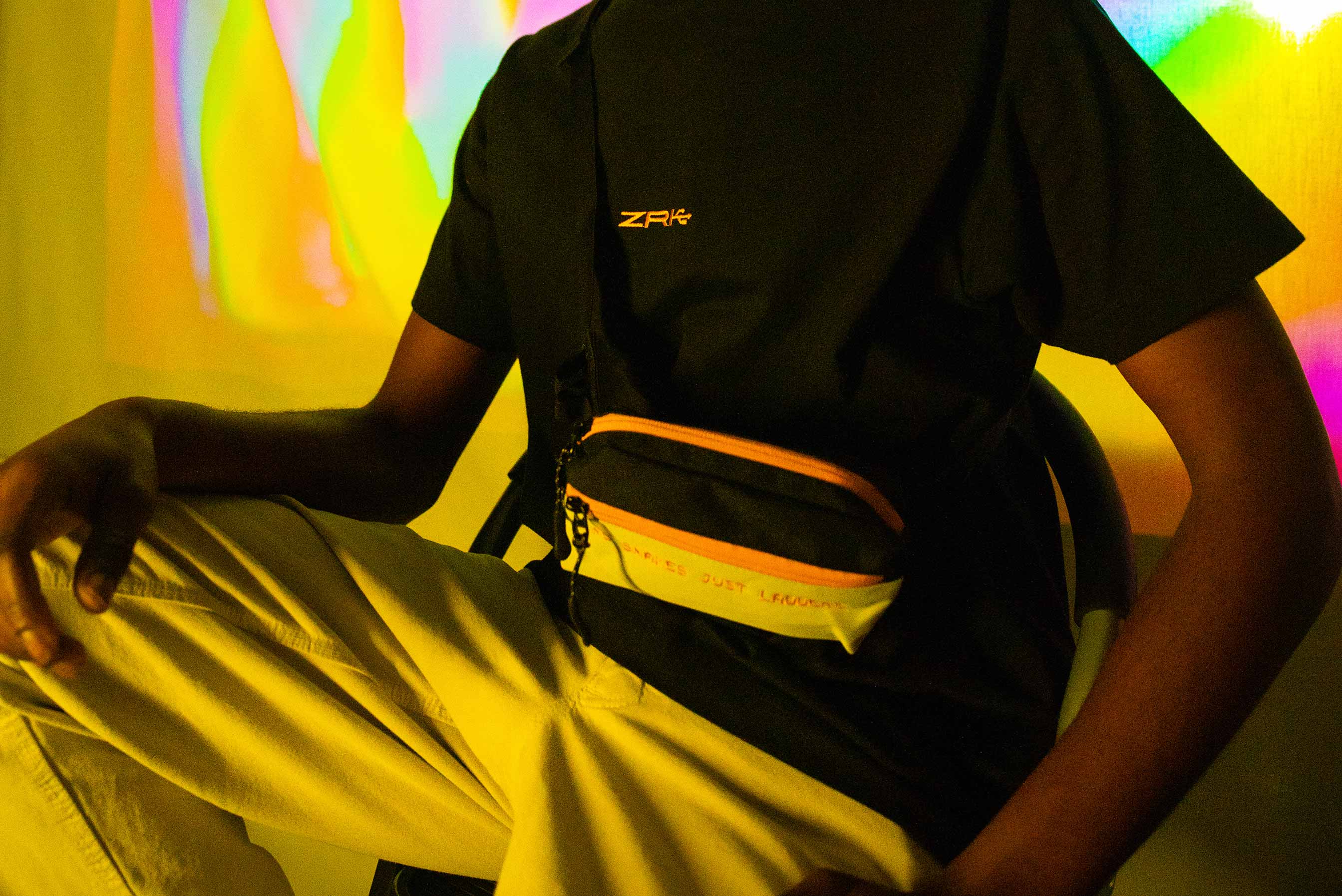 NO SNAKES JUST LADDERS CHEST BAG // ORANGE & LIGHT GREY