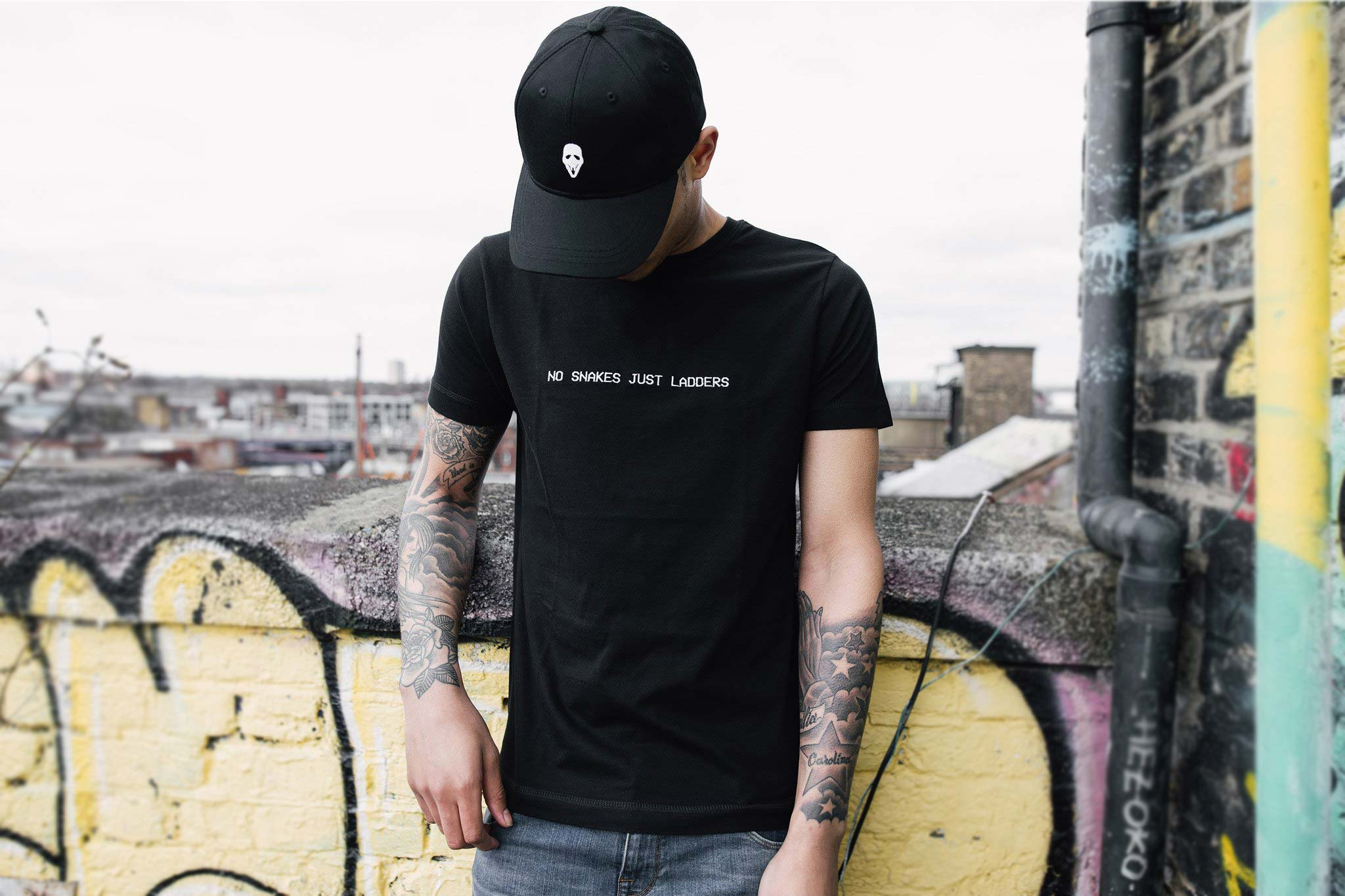 NO SNAKES JUST LADDERS TEE // BLACK