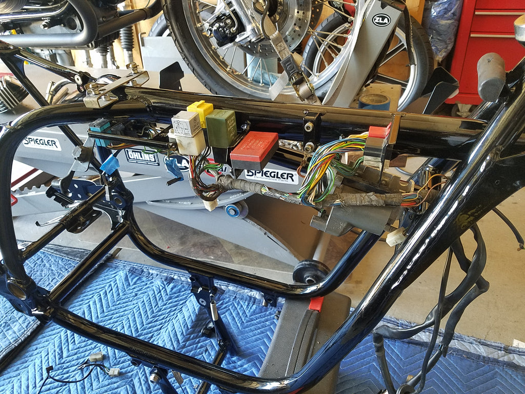Project 88 1988 Bmw R100 Boss Moto Wiring Diagram Harness Fitted On Frame For Fit With All The Powder Coating That Was Done To We Wanted Make Certain Everything As Expected