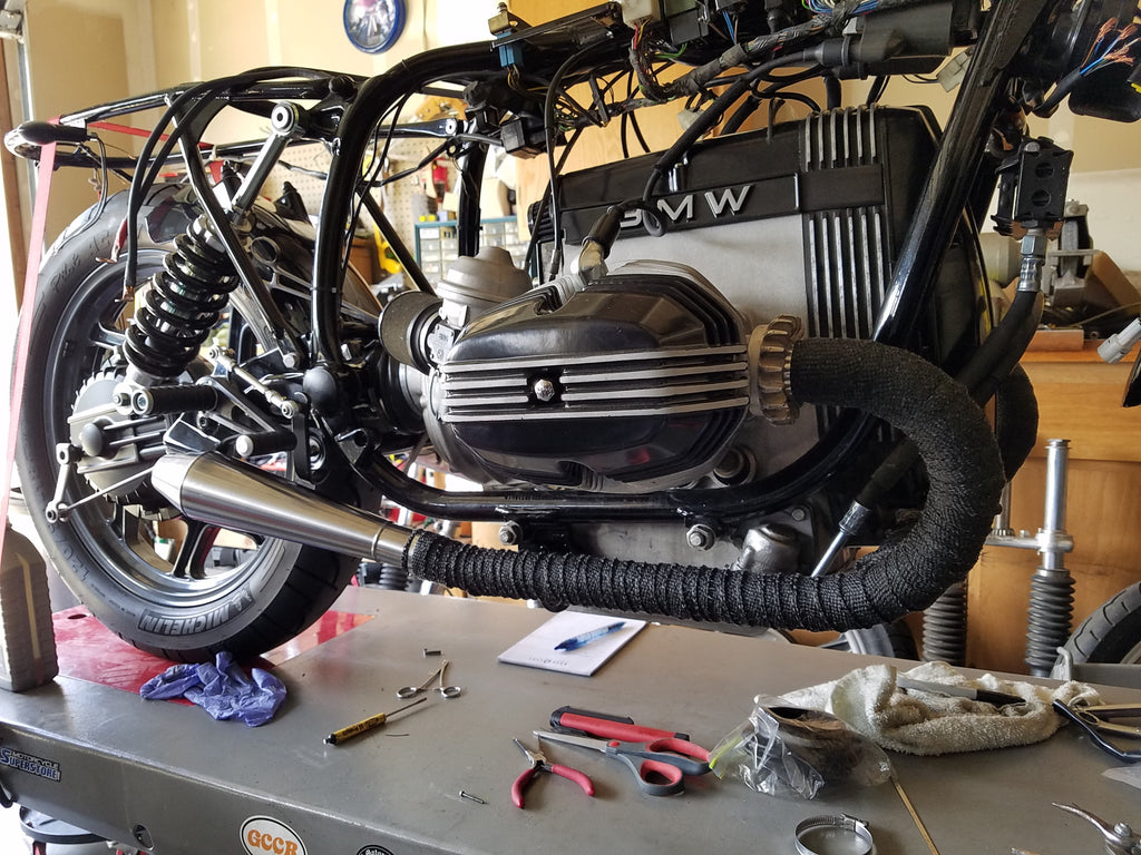 Project 88 1988 Bmw R100 Boss Moto Motorcycle Wiring Harness Tape Header Wrap And Muffler Complete On Both Sides At This Point The Bike Is Now