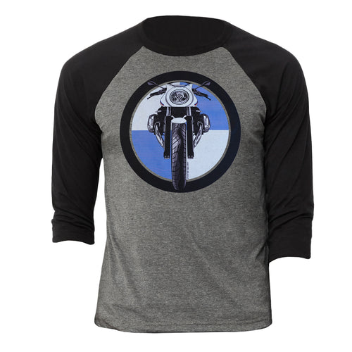 BMW R nine T Cafe Racer Logo Motorcycle 3/4 Baseball Tee Shirt