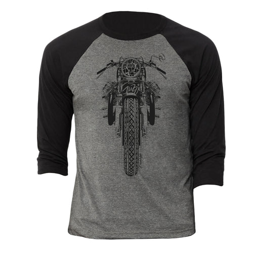 Moto Guzzi Black Motorcycle 3/4 Baseball Tee Shirt