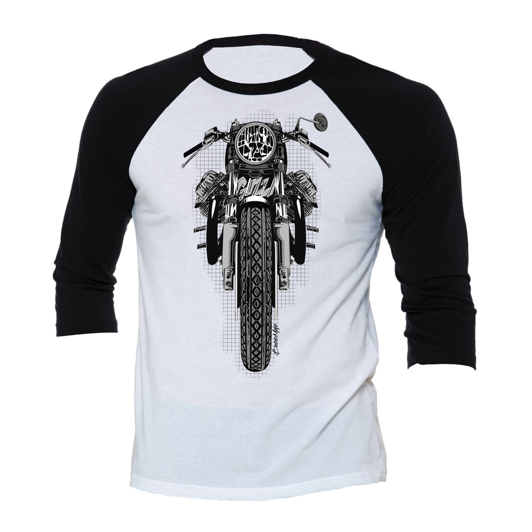 Moto Guzzi Color Motorcycle 3/4 Baseball Tee Shirt