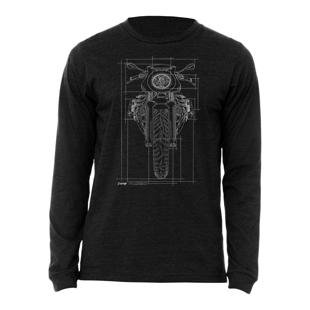BMW R nine T Cafe Racer Graph Motorcycle Long Sleeve Tee Shirt