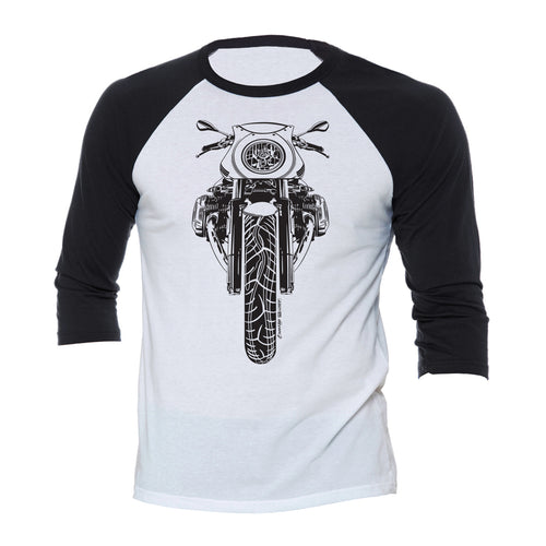BMW R nine T Cafe Racer Black Motorcycle 3/4 Baseball Tee Shirt
