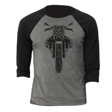 BMW R nine T Cafe Pure Black Motorcycle 3/4 Baseball Tee Shirt