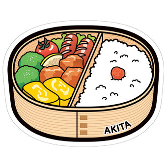 Japan Gotochi (Akita) Postcard - Limited Edition - Okan Bending Wappa Bento Lunch Box