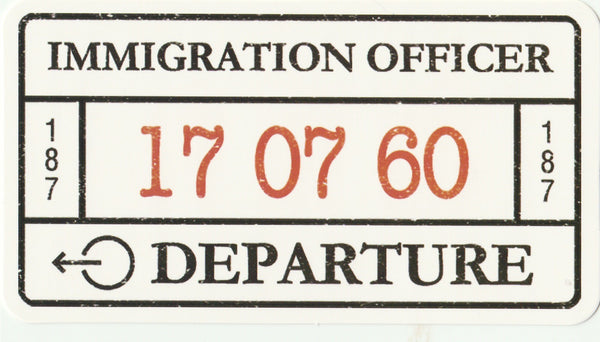 Travel Memories - T01 - Immigration Departure Passport Stamp Postcard