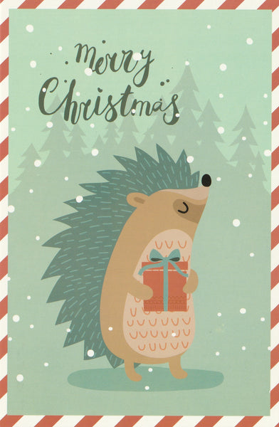 Christmas Animals Postcard - Hedgehog