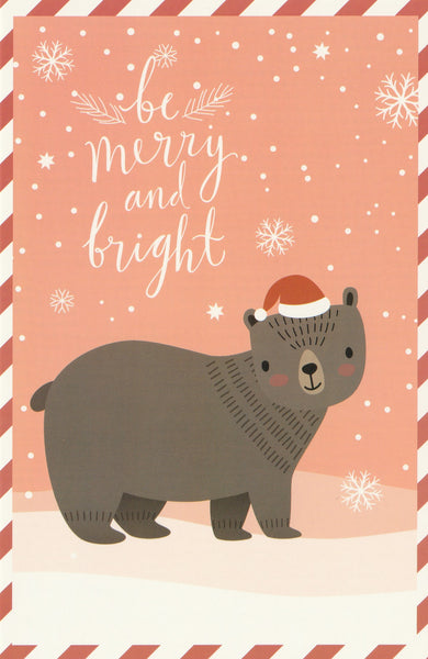 Christmas Animals Postcard - Bear Brown