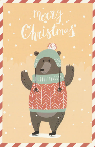 Christmas Animals Postcard - Bear Sweater
