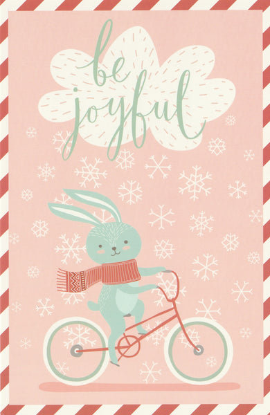 Christmas Animals Postcard - Bunny Rabbit Bicycle