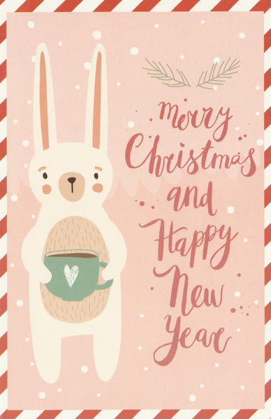 Christmas Animals Postcard - Bunny Rabbit Coffee