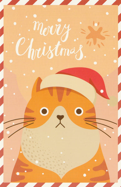 Christmas Animals Postcard - Cat Orange