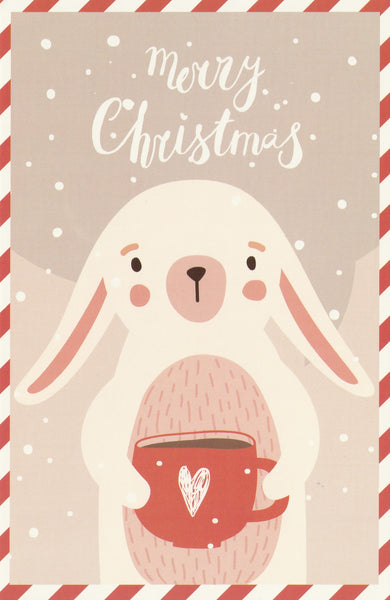 Christmas Animals Postcard - Bunny Rabbit Hot Chocolate