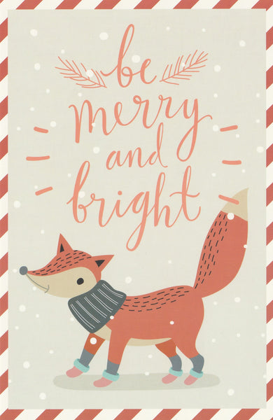 Christmas Animals Postcard - Fox Scarf