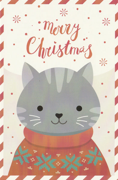 Christmas Animals Postcard - Cat Grey
