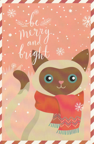 Christmas Animals Postcard - Cat Brown