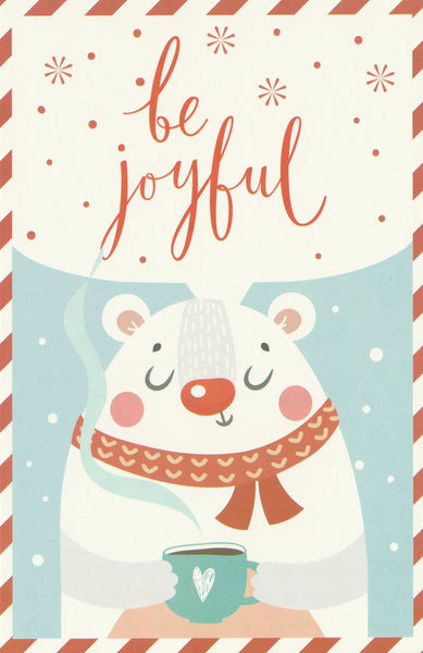 Christmas Animals Postcard - Polar Bear Hot Chocolate