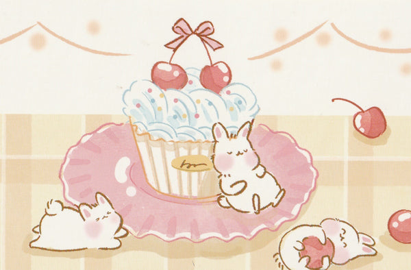 Animal ❤ Snacks Series Postcard - Bunny Rabbit Birthday Cupcake