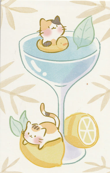 Animal ❤ Snacks Series Postcard - Kitty Cat Lemonade