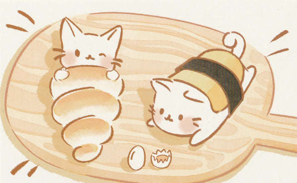 Animal ❤ Snacks Series Postcard - Kitty Cat Bread