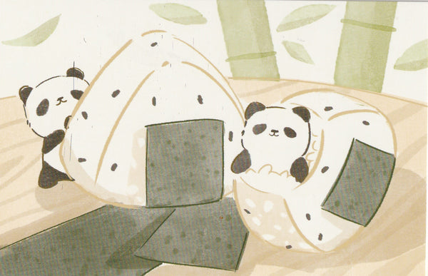 Animal ❤ Snacks Series Postcard - Panda Onigiri