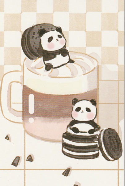 Animal ❤ Snacks Series Postcard - Panda Oreo Milkshake