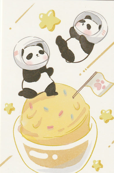Animal ❤ Snacks Series Postcard - Panda Ice Cream