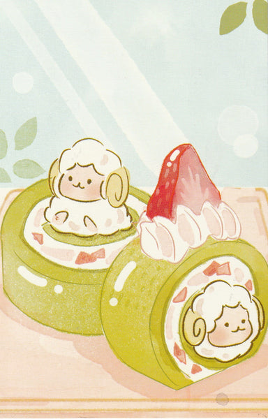 Animal ❤ Snacks Series Postcard - Sheep Ichigo Strawberry Matcha Cake