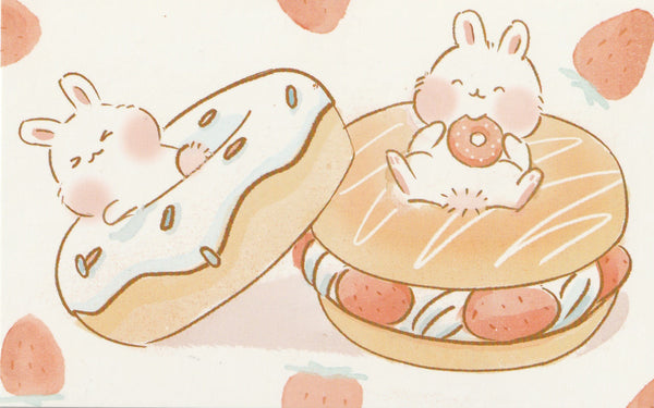 Animal ❤ Snacks Series Postcard - Bunny Rabbit Ichigo Strawberry Donuts