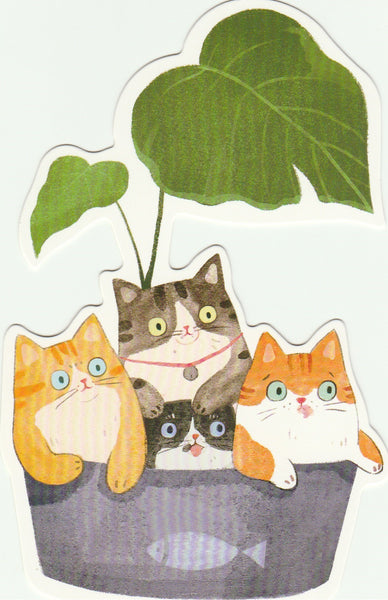Kitty Cats in the Backyard - Cartoon Postcard (BC11)