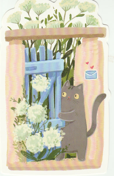 Kitty Cats in the Backyard - Cartoon Postcard (BC03)