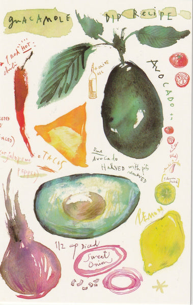 Food Recipe Postcard - Gucamole Avocado