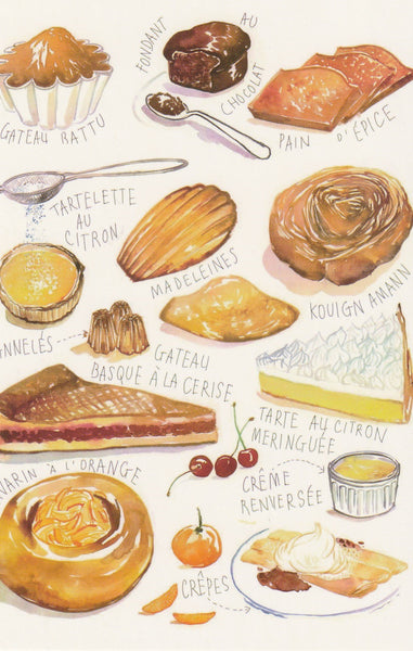 Food Recipe Postcard - French Pastries (B)
