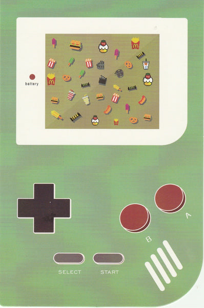 Gameboy Console Postcard - Food Symbols