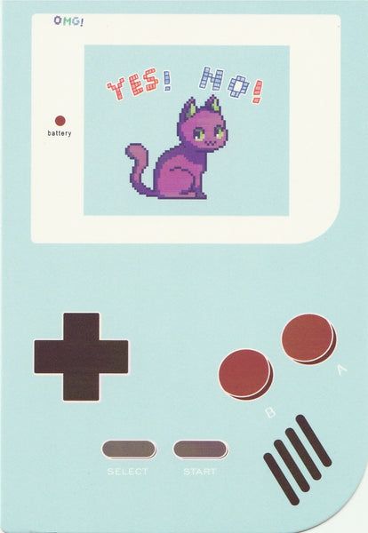 Gameboy Console Postcard - Cat