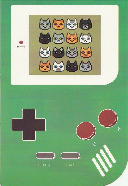 Gameboy Console Postcard - Kitty Cat