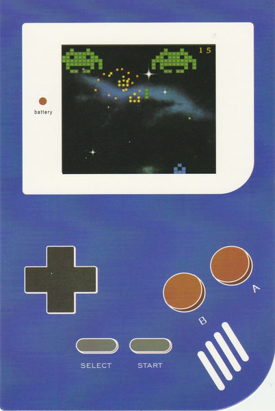 Gameboy Console Postcard - Alien Invasion
