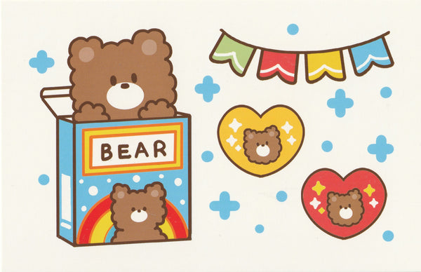 Happiness Animals Postcard - Bear in a Candy Box